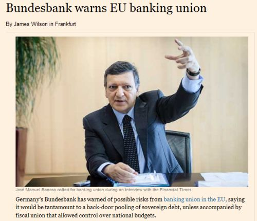 sabine lautenschlager vice president of the bundesbank said banking union could only work in tandem with fiscal union meaning some common cross border